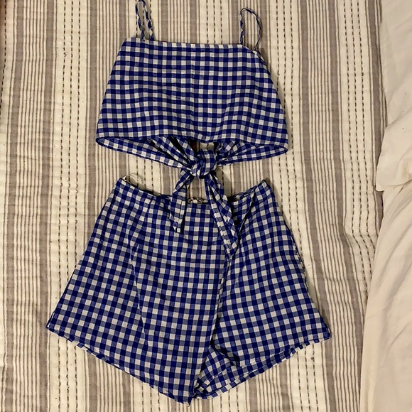 Blue and White Plaid Two Piece